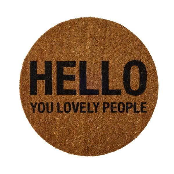 Bilde av Hello you lovely people dørmatte rund Diameter 70 cm