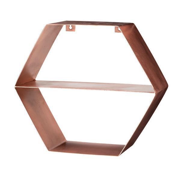 Ryddig Bloomingville hexagon hylle kobber 44x38 cm | UTDinterior XH-89